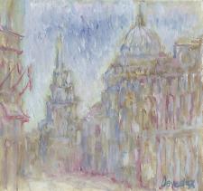 Old Montreal Original Oil Painting French Impressionism Deveaux Vieux-Montréal