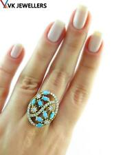 Real Turkish Handmade 925 Silver Victorian Created Turquoise Ring Size 8 R1613