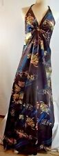Vintage Made in Hawaii Nei Halter Maxi Dress Brown Floral Size 12