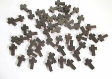 Wholesale Lot of 50 Small Dark Brown Wood Crosses, 7/8 Inches, Holes for Cords