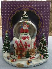 Christopher Radko Christmas Musical Snow Globe Dome Rooftop Santa Chalet NIB