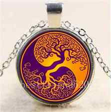 Tree of Life Yin Yang Cabochon Glass Tibet Silver Chain Pendant Necklace