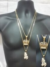 Hip Hop Iced Out Praying Hands King Queen Crown Necklace Box Chain Pendant Set