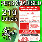 PAT Test Microwave Emission PERSONALISED Labels x 210