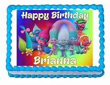 Trolls Party Edible image Cake topper decoration - personalized free!