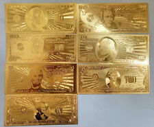 7Pcs/Lot 24K Gold Foil Euros Banknote 500/200/100/50/20/10/5 Collections Gifts