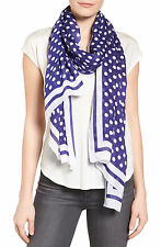 KATE SPADE NEW YORK Polka Dot Oblong Scarf Blue & White NEW $118.00 FREE SHIP