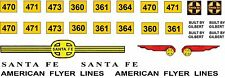 American Flyer Alco Santa Fe diesel decal set 470, 360