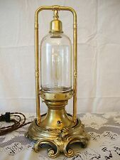 Steampunk Table Art Lamp, Vtg. Cast Brass Base, Edison Bulb, Glass Dome, Brass!
