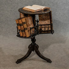 Antique Tripod Book Reading Side Table Ebonised Aesthetic Period Victorian c1890