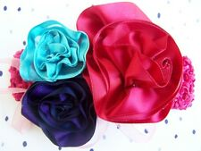 "NEW Custom ""RED, AQUA, & PLUM ROSETTE"" bOuTiQuE Hair Bow Clip & Headband"