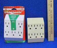 Outlet Converter 6 Grounded Outlets White Tan 1/NIP Lot of 2