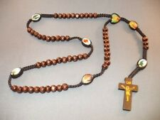 Rosary Necklace Wood Beads Crucifix Macrame Accent w Saint Images BROWN Gift!