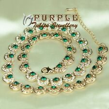 Antique Style 18K Rose Gold Plated Necklace W/ Emerald SWAROVSKI CRYSTAL