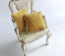 Set Of 2 Piped Gold Crosshatch miniature Cushions for dolls house 12th Scale