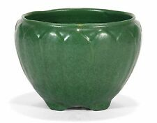 "Weller Pottery Bedford Matte green leaf jardiniere arts & crafts 6.5"" dia"