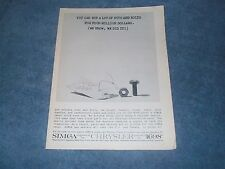"""1960 Simca Vintage Magazine Ad """"You Can Buy A lot of Nuts & Bolts For 4 Million."""