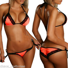 Sexy Orange Bikini Beach Swimmer Stripper Dancer Adult Costume 6 8 10 12