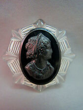 VTG Cameo Clear Lucite Jet Black Mourning Brooch Pin Galalith Carved Big Nice