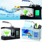 Mini USB/AA Aquarium LCD Calendar Clock Time Temperature LED Light Fish Tank New