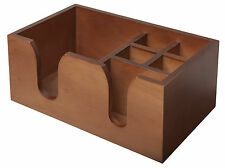 Wooden Bar Caddy Straws Napkins Holder Storage Pub Bar Tidy Walnut Effect