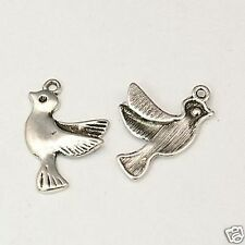 10 Tibetan Silver Dove Pendant Charms Bird Peace Love