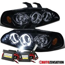 For 92-95 Civic 2/3/4Dr Glossy Black LED Halo Projector Headlights+6000K HID Kit