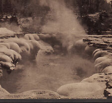 Yellowstone c 1898 Oblong Geyser National Park Hoods Cure Advertising Photo Card