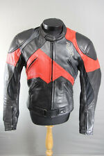 RICHA BLACK, RED & SILVER LEATHER BIKER JACKET WITH REMOVABLE CE ARMOUR 40 INCH