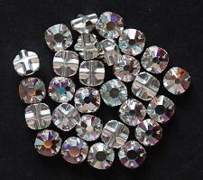 Swarovski Crystal ROSE MONTEES, Mounted Chatons, Crystal Clear, AB 4mm, 6.5mm