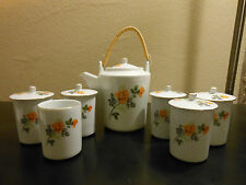 Tatung Porcelain Tea Set With Covered Tea Pot and 6 Covered Cups Made in Taiwan