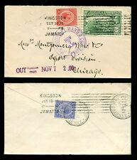 JAMAICA 1919 KG5 2 1/2d RATE...2 COVERS to CHICAGO...ANNOTTO BAY
