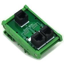 RJ45 8P8C 3 Jacks Splitter DIN Rail Mounted Interface Module.