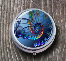 FRACTAL PSYCHEDELIC RAINBOW FLOWER PILL BOX ROUND METAL -nsg4Z