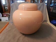 """Pink Peach Ceramic Round Flower Vase or Urn with Lid 10"""" Tall (M)"""