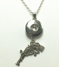 DIYFashion Silver Rose pistol Pendant Necklace for Fit  Noosa Chunk Snaps button