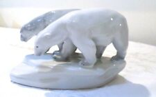 Wonderful Antique Zsolnay Pecs Porcelain Twin Polar Bears