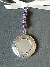 Wedding Bouquet Charm Photo Frame Round Silver Bouquet Locket with purple pearls