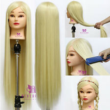 "New 30""  100% Synthetic Hair Hairdressing Training Mannequin Doll Head + Clamp"