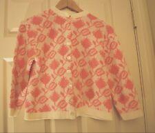 Vintage 100% Orlon Acrylic Pink & Ivory Cardigan Sweater ~ Woman's Small