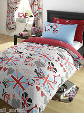 DOUBLE BED DUVET COVER SET PUNK ROCKER UNION JACK GREY HEART RED LOVE ROCK CROWN