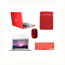 "5 in 1 Rubberized RED Case for Macbook PRO 15"" Retina +Key Cover+ LCD+Bag +Mouse"