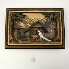 """Vtg Swiss REUGE """"Mill in the Black Forest"""" Wood Wall Hung Music Box - SEE VIDEO"""