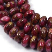 8x5mm Ruby in Quartz with Pyrite Rondelle Beads (40)