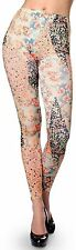 Asian Floral Pattern Flower Print Lady Skinny Leggings Stretch Sexy Pencil Pants