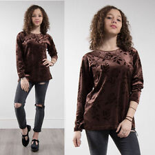 WOMENS BROWN VELVET FLORAL PATTERN LONG SLEEVE T-SHIRT TOP 90'S GRUNGE STYLE 12