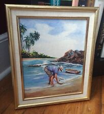 Vintage Framed Art A. Rondon 1985 Beach Oil Painting Trees Seascapes