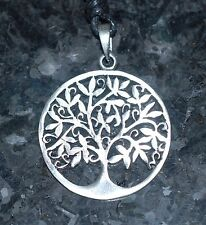 TREE OF LIFE PENDANT NECKLACE ,  PEWTER CELTIC PAGAN SYMBOL ON A CORD 37mm