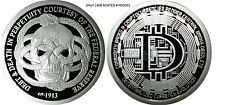 1 OZ SILVER COIN PROOF FEDERAL RESERVE DEBT AND DEATH-DECENTRALIZED BITCOIN SBSS