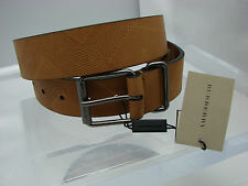 NWT $275 AUTHENTIC BURBERRY Embossed Check Leather Belt Tan 38/95